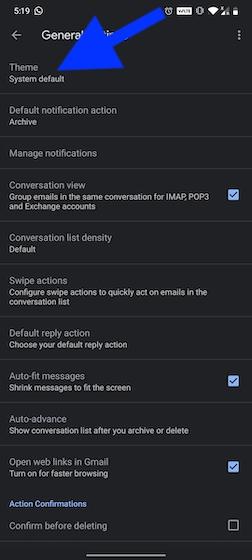 Cómo habilitar el modo oscuro en Gmail en Android