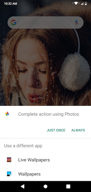 Choose an app to complete the action