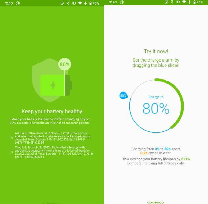 comprobar la salud de la batería en Android con AccuBatery