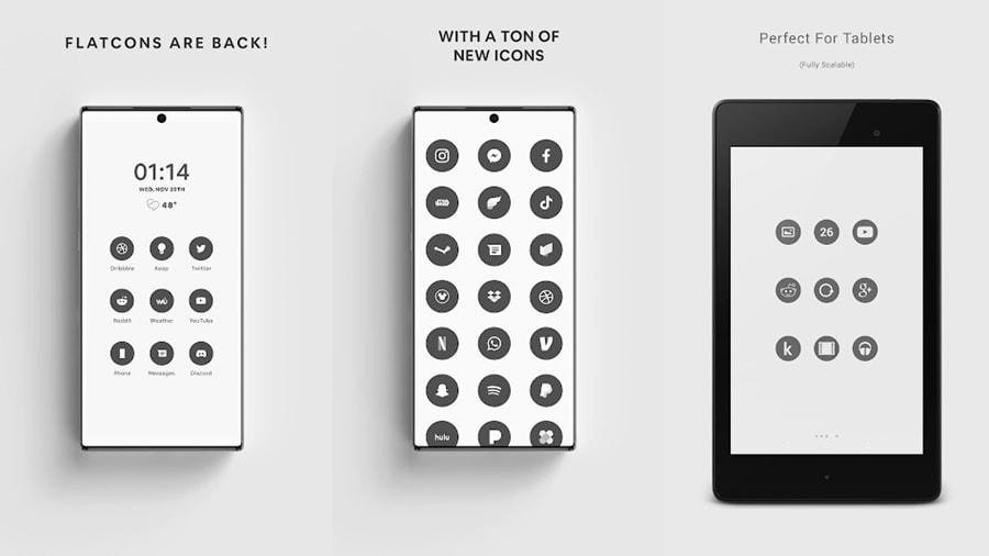 Paquetes de iconos de estilo plano para Android