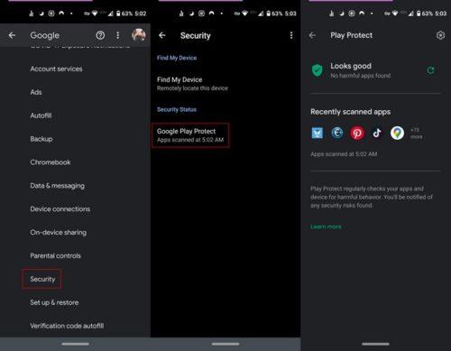 activar o desactivar Google Play Protect