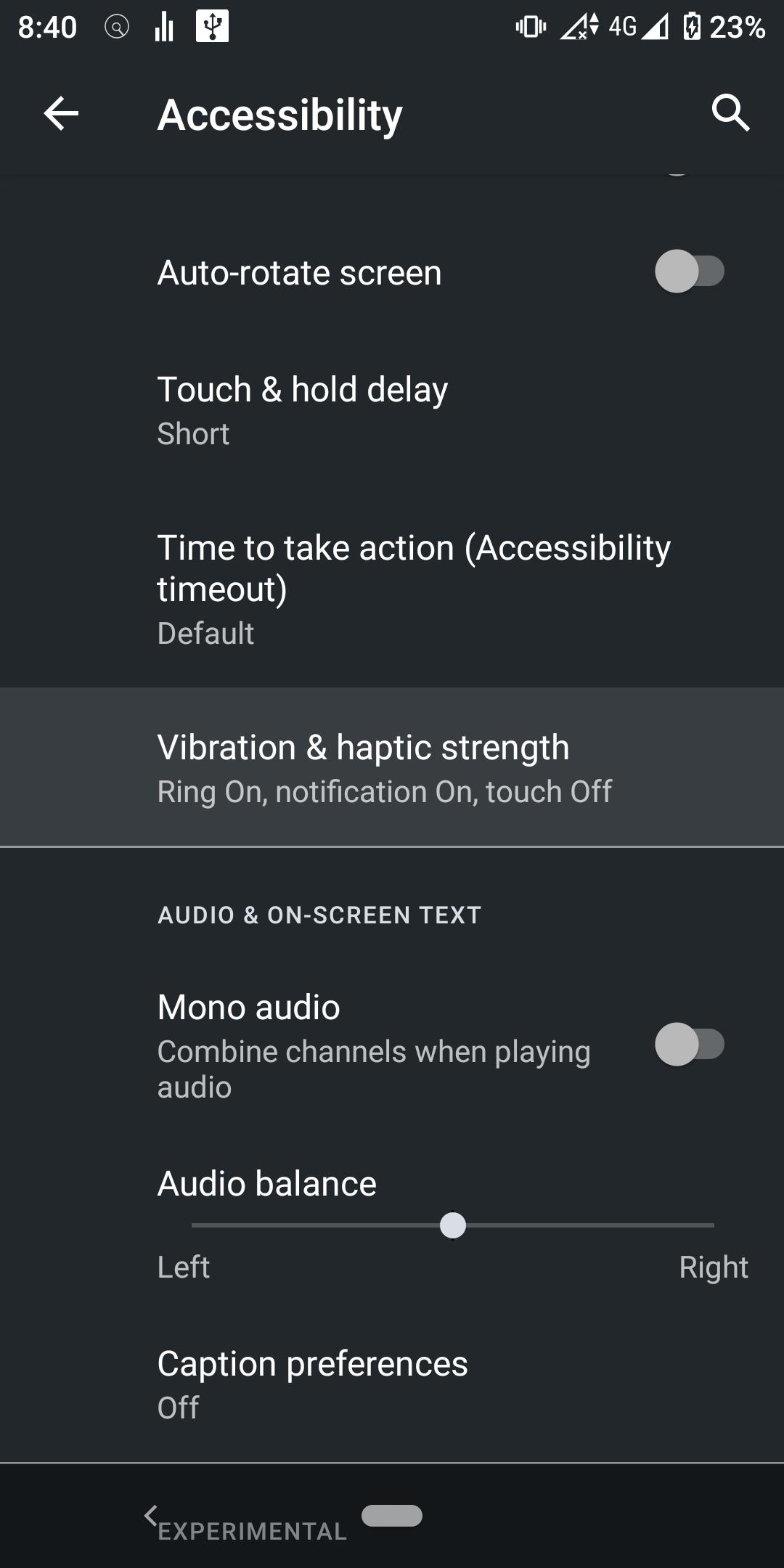 como ajustar la intensidad de la vibración en Android