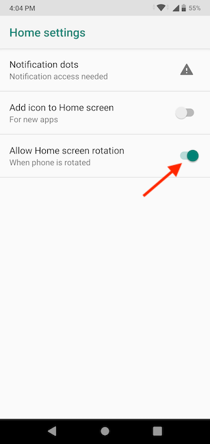 Enable the switch to let the Home screen rotate