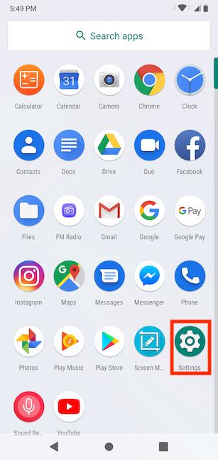 como acceder al menú de configuración de Android