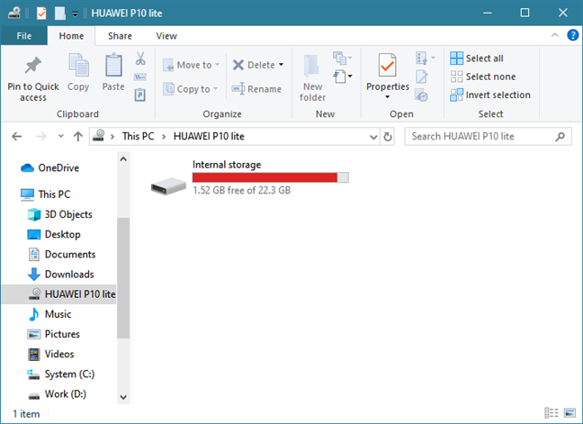 The internal memory is shown as a drive in File Explorer
