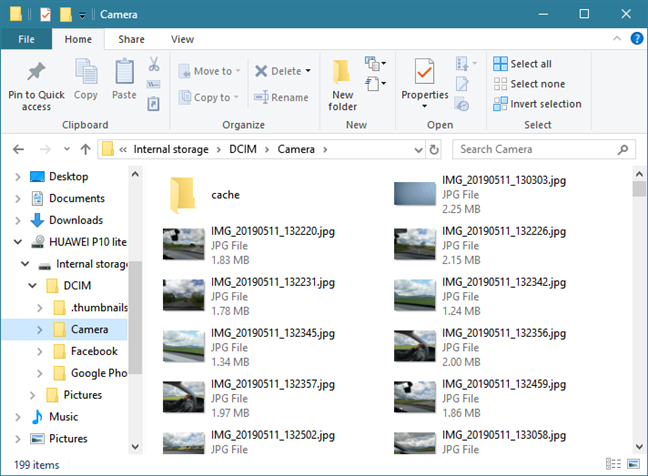 File Explorer only shows the Pictures and DCIM folders from Android