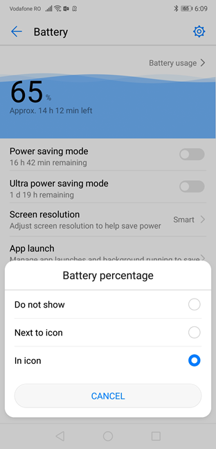 Choosing where to view the battery percentage in Android