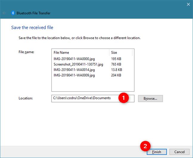 transferir archivos desde dispositivos Android a dispositivos Windows 10, utilizando Bluetooth:
