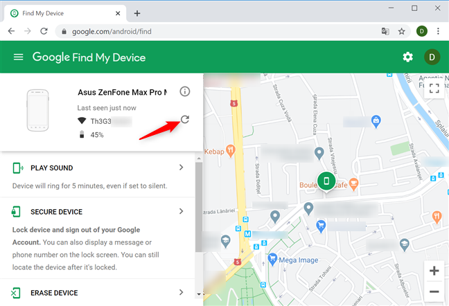 Press refresh to try locating your device again
