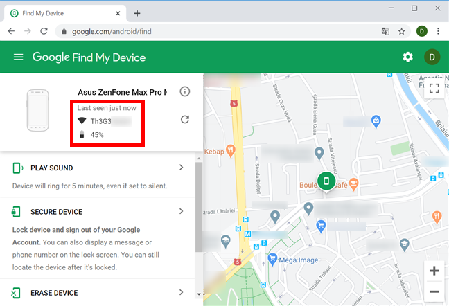 Find My Device displays info about your Android