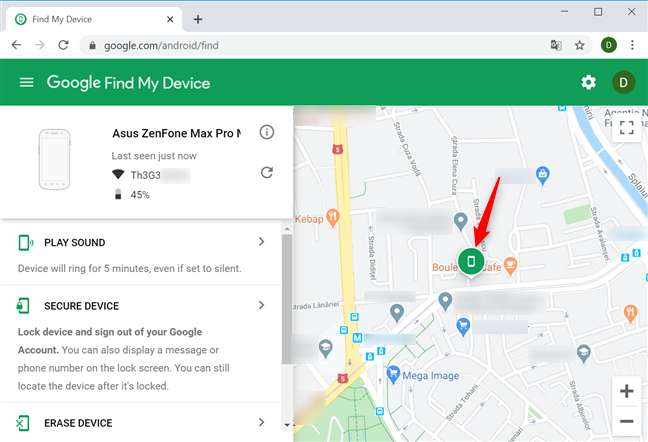 Your device is shown on the map