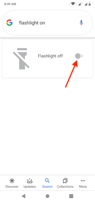 Use the switch to toggle the Flashlight on or off