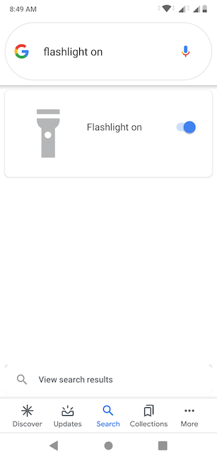 The Google Assistant turns on the Flashlight