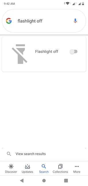 The Google Assistant turns off the Flashlight