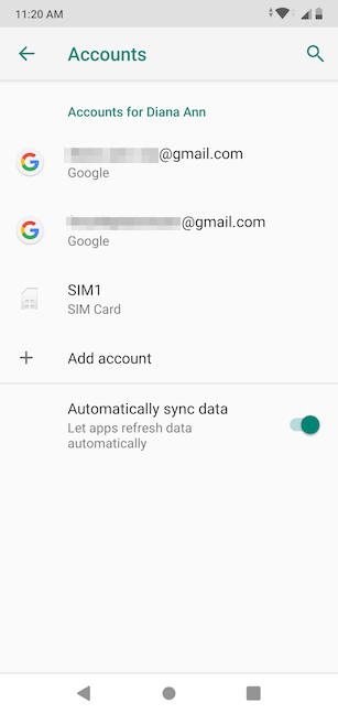 Your Google Account is shown under Accounts