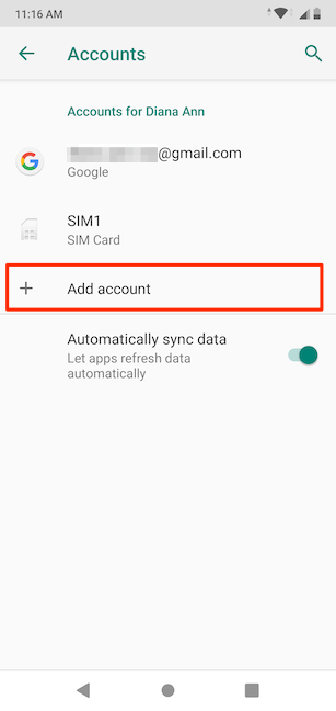 Adding an account on your Android