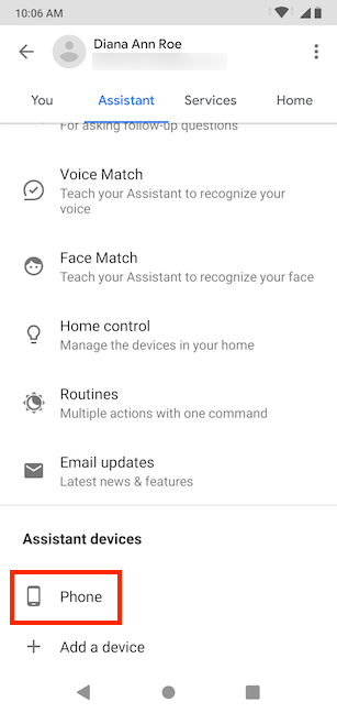Access Phone under Assistant devices