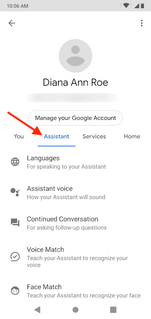 Scroll to the bottom of the Assistant tab