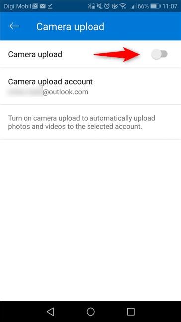 manual de como subir fotos a OneDrive desde Android