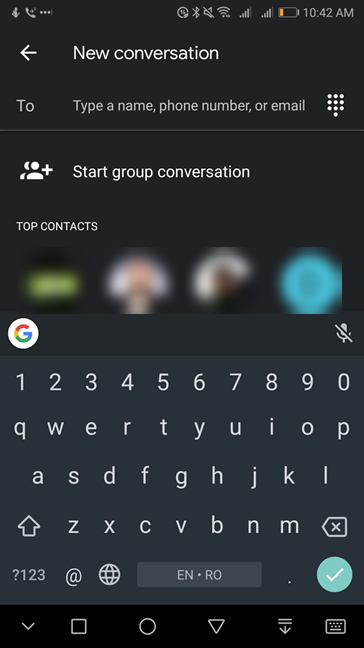 Type a name, phone number, or email for a new conversation