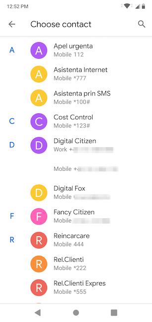 marcación rápida y el mensaje directo en Android