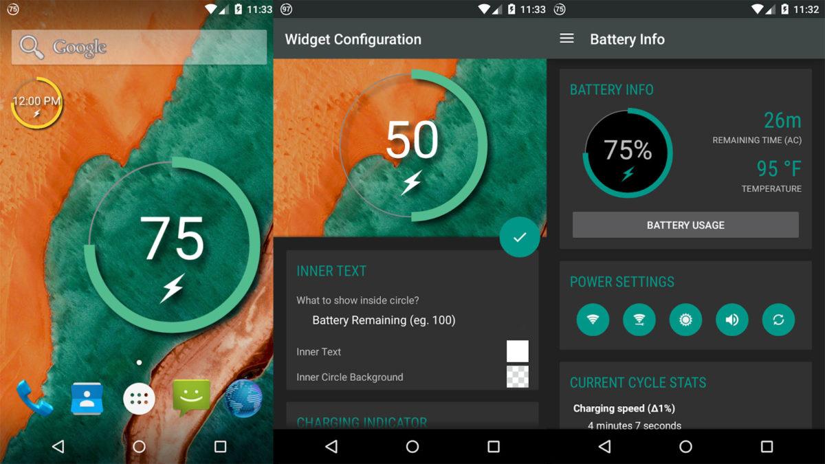Captura de pantalla de Battery Widget Reborn para los mejores widgets de Android