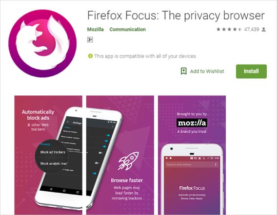 Navegador Firefox Focus para Android