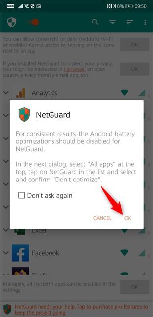 Las optimizaciones de la batería de Android deben estar deshabilitadas para NetGuard