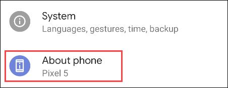 seleccione Acerca del teléfono