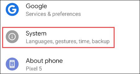 seleccione Sistema en Configuración