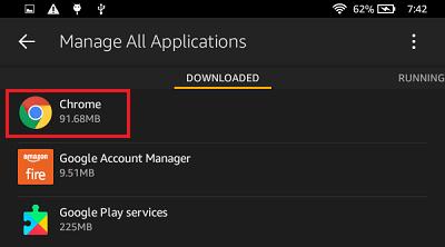 Lista de aplicaciones descargadas en Kindle Fire