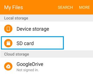 Abra el almacenamiento de la tarjeta SD en el teléfono Android