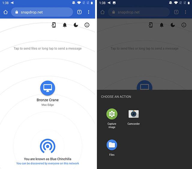 transferir archivos entre android y mac snapdrop