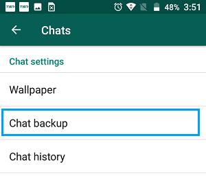 Opción de configuración de copia de seguridad de chat