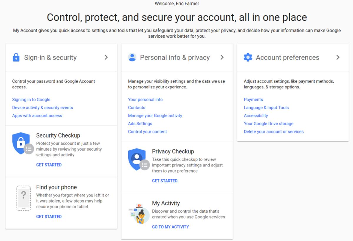 Esta es la pantalla de mi cuenta para mi cuenta de Google.