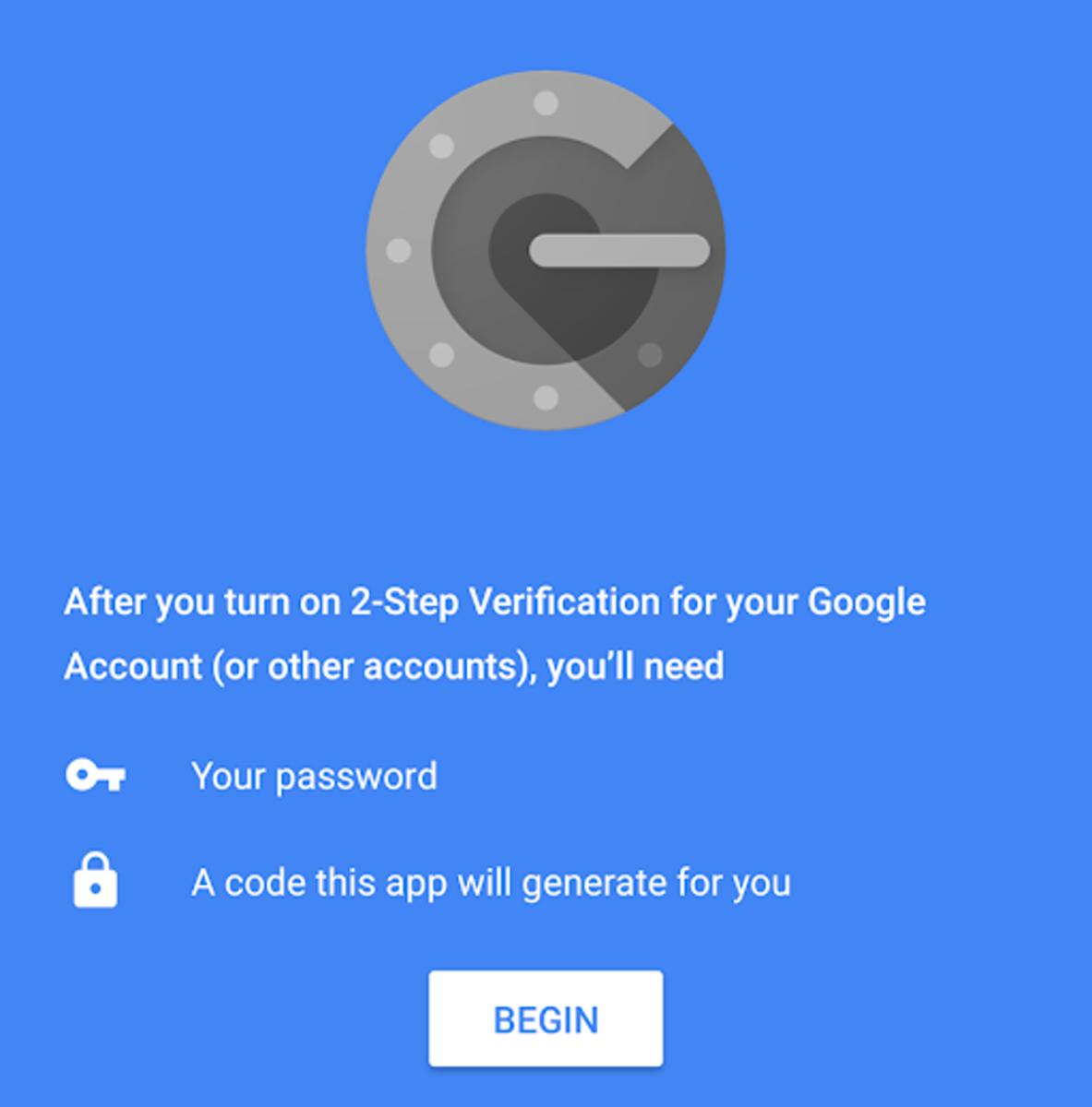 La aplicación Google Authenticator.