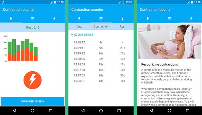 Aplicación de contracciones para embarazadas