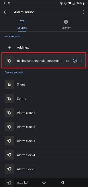 Cómo configurar el tono de llamada del reloj de Google de la alarma de Spotify activado