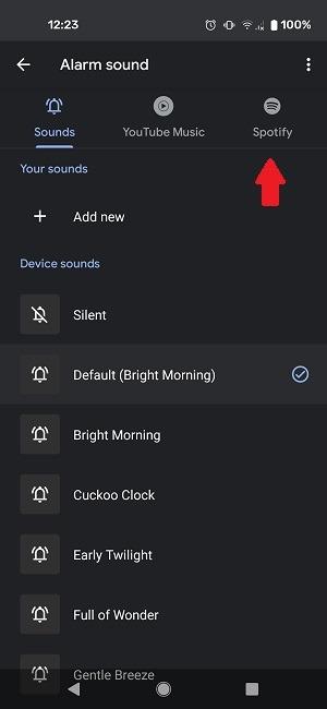Cómo configurar la alarma de Spotify Google Select Spotify