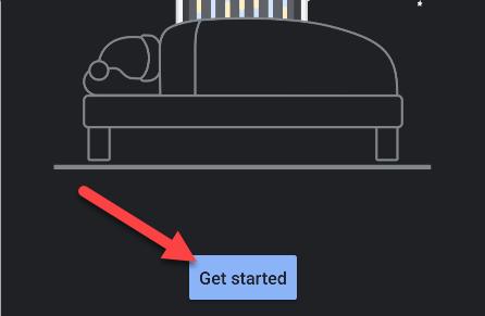 """Toca """"Comenzar"""" en la aplicación """"Hora de dormir""""."""