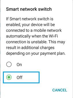Desactivar Cambiar a datos móviles, Cómo solucionar Android no se conecta al Wi-Fi