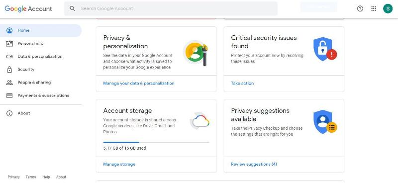 Información de almacenamiento de la cuenta de Google