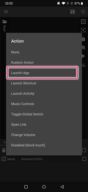 Crear Widget Acción de aplicación de lanzamiento de Android