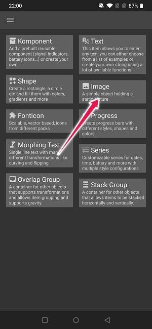 Crear widget de selección de objetos de Android