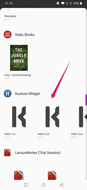 Crear widget Android Seleccione Kustom Widget