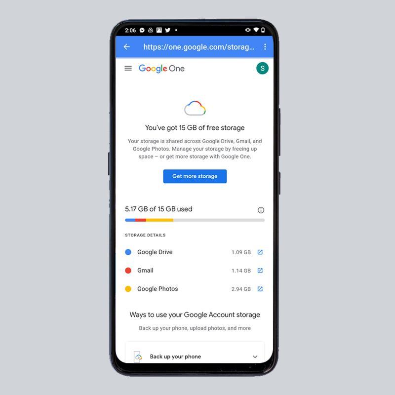 Cómo ver el uso del almacenamiento de Google en el teléfono