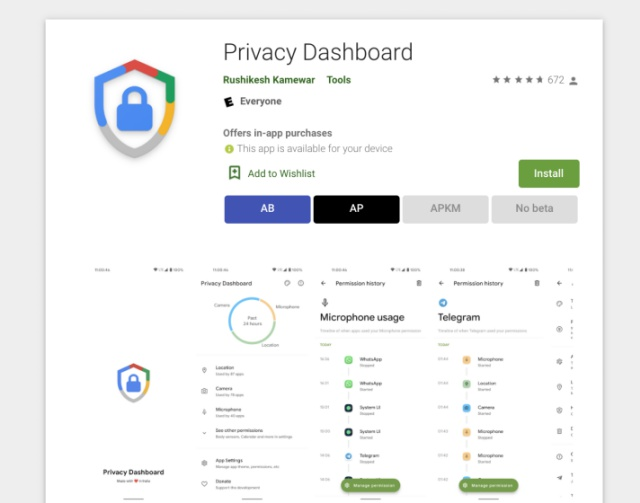 obtener panel de privacidad en el teléfono Android