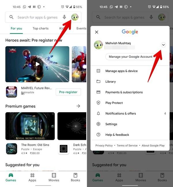 Google Play Store cambia varias cuentas