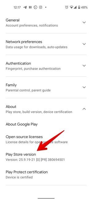Actualización de Google Play Store