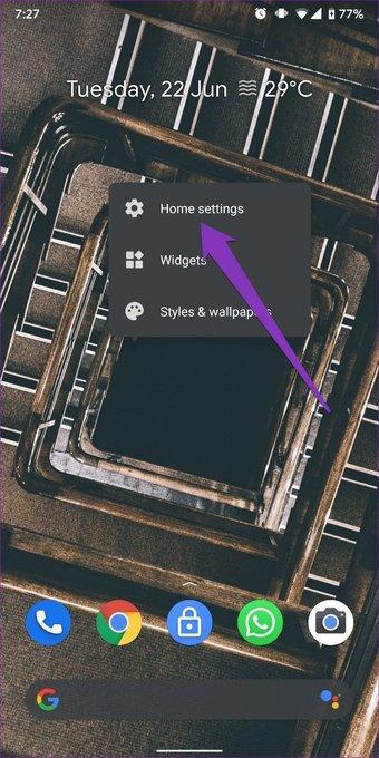 Configuración de inicio en Android